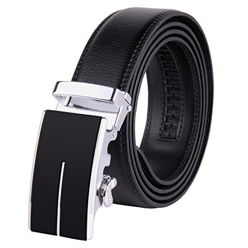 JINIU Men's Leather Belt Automatic Buckle 35mm Ratchet Dress Black Belts Boxed KT1 One Size (Arms Belt Buckle)