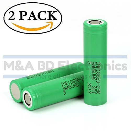 Samsung High Drain INR18650-25R 20A 2500mAh Rechargeable Flat Top 3.7V Battery, (2 Pcs) by M&A BD Electronics