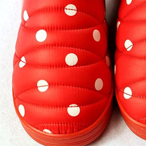 mhgao hogar algodón Zapatillas, resistente al desgaste antideslizante cálido acolchado zapatillas rojo