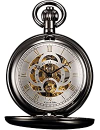 Unisex KSP009 Full Hunter Skeleton Dial Mechanical Pocket Watch