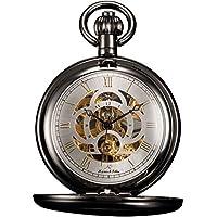 KS Unisex KSP009 Full Hunter Skeleton Dial Mechanical Pocket Watch