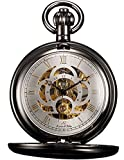 KS Unisex KSP009 Full Hunter Skeleton Dial Mechanical Pocket Watch