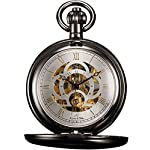 KS Unisex Full Hunter Skeleton Dial Mechanical Pocket Watch KSP009