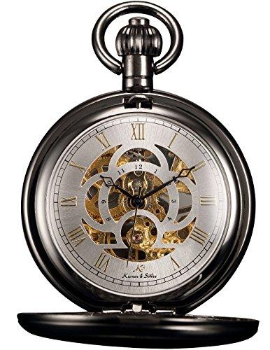 KS Full Hunter Skeleton Dial Mechanical Pocket Watch