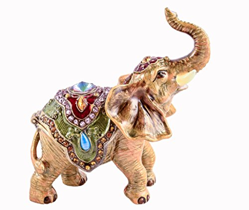 Crystal Elephant Trinket Box - Small Brown Elephant Jeweled Swarovski Crystal Trinket Box