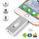 32GB iPhone Flash Drive U Disk - USB,Micr USB and Lightning Tripe Interface(3 in 1) Thumb Drive, Memory Stick for Apple IOS Android Computers (silver)