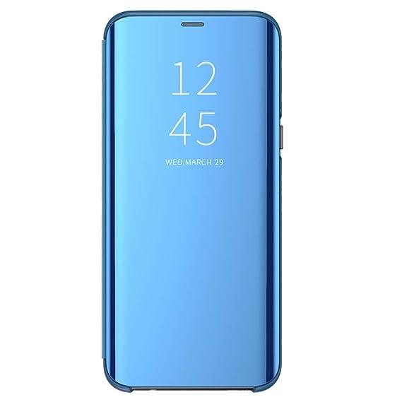 Funda para Samsung Galaxy S10/S10 Plus Suave + Duro Carcasa Espejo Mirror Flip Caso Ultra Delgada Shock Caja del Teléfono Translucent Window View