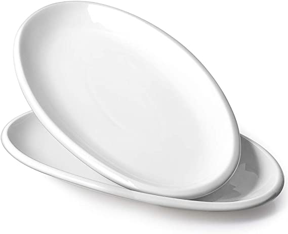 Dowan Large Serving Platters 14 Inches Oval Serving Plates White Porcelain Platters Oven Safe Dinner Plates Serving Dishes For Party Meat Appetizers Dessert Set Of 2 White Platters