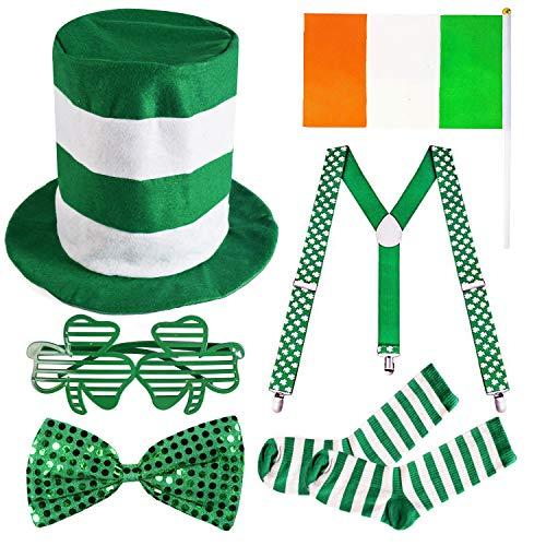 Garma 6 Pack St. Patrick's Day Parade Costume Set Men Irish Day Saint Patrick's Day Celebration Outfit Attire -
