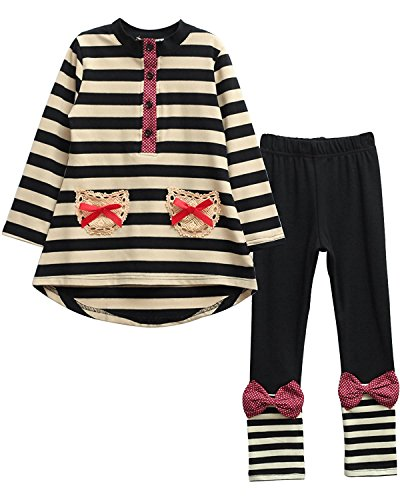 M RACLE Little Girls' Stripes Long Sleeve Clothes Set(Black,Tag 130)