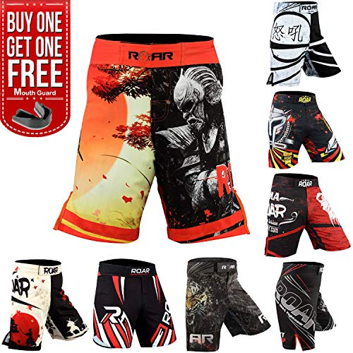 ROAR MMA Fight Shorts UFC Grappling Muay Thai BJJ Crossfit Training Jiu Jitsu No Gi Wear (Large, Warrior)