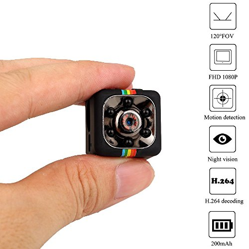 Mini Spy Camera 1080/720P Portable Security Camera with Motion Detection or Continious Night Vision Long Time (Spy Video Surveillance)