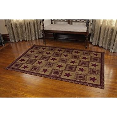 IHF Home Decor New Area Braided Rug Country Star Wine Design Carpet Accent Rectangle Rugs 100% Jute Fiber 20 x 30 Inches