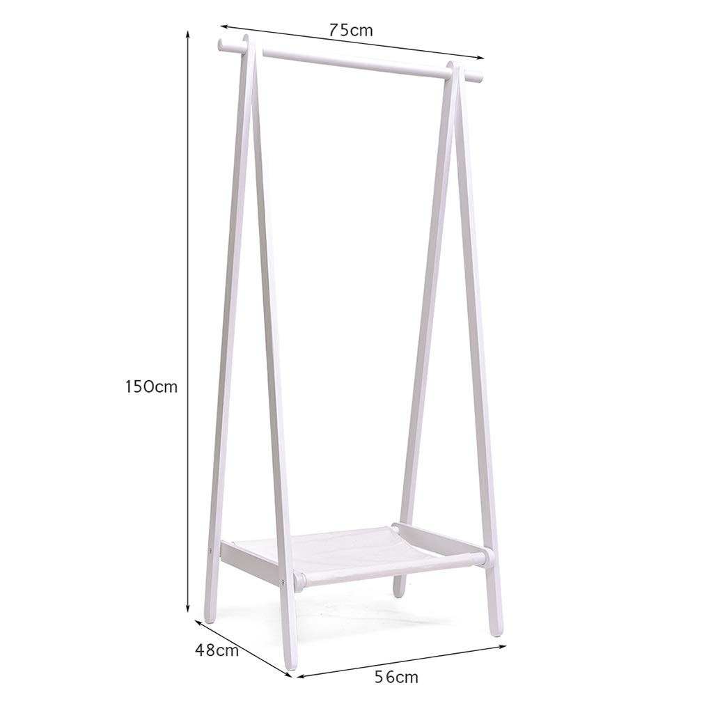 5648150cm Floor Coat Rack, Beech Multifunctional Hanger, White Clothes Storage Rack, Multi-Scenario, 150cm High (Size   56  48  150cm)