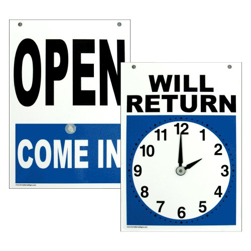 Compliancesigns Plastic Open   Return Sign  2 Side 7 X 5 In  With English Text And Clock  White