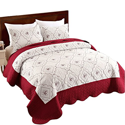Junhome Summer Bedspreads King Size,Embroidered Floral Quilt King Size,Reversible Hypoallergenic Burgundy&White Coverlet Set King Size,Quilts 3 Pieces(1 Quilt + 2 Pillow ()