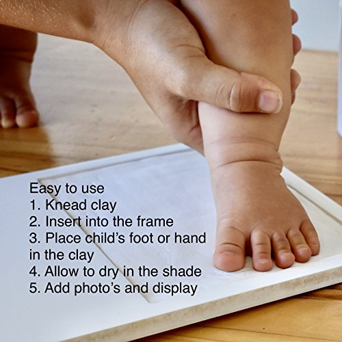 Baby Handprint Picture Frame Kit - Mold Free Treatment, 100% Glass Face, How to Video, Ideal Baby Shower or Registry Gift for Newborn Boys or Girls, Personalized Nursery Room Decor by Mother of all Design (Image #6)