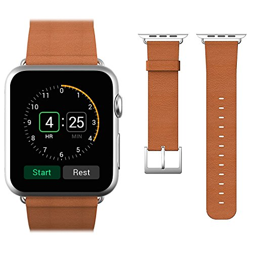 Arteck Apple Watch Band for Series 4/3 / 2/1, 42mm Genuine Leather Strap Wrist Band Classic Buckle Replacement w/Metal Clasp for Apple Watch All Models 42mm (Leather - Brown) ()