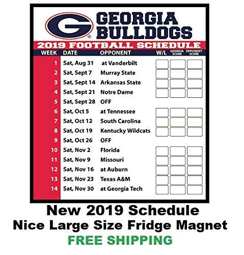 274505fe 2019 NCAA Georgia Bulldogs Football Schedule Fridge Magnet 142