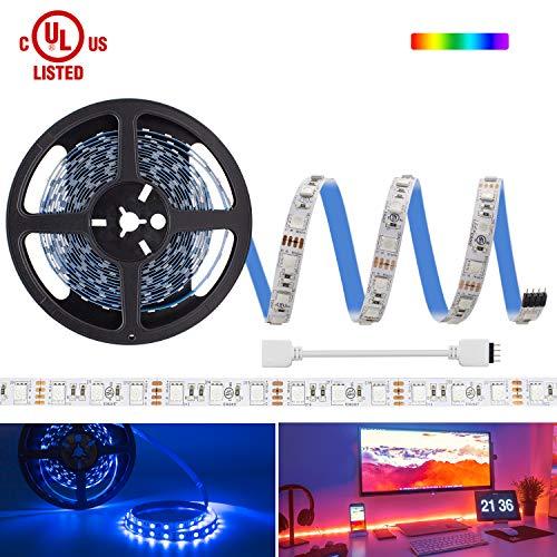HitLights Multicolor RGB LED Light Strip. UL-Listed LED Light Strip, Premium High Density 5050-16.4 Feet, 300 LEDs, 12V DC Tape Light