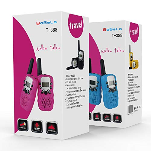 Bobela Walkie-Talkies 4 Pack for Adults Travel - T-388 Black Handheld Walky-Talky with Flashlight for Parents Kids - 2-Way-Radio with Mic PTT Clip Long Range for Baby Teen Boy Girl Him Family as Gifts by Bobela (Image #7)