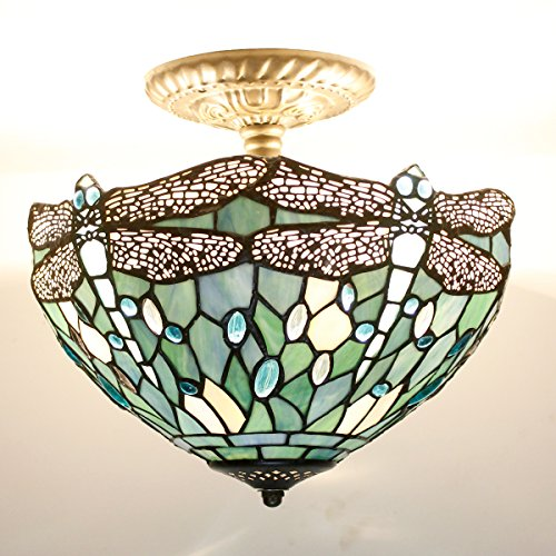 Tiffany Ceiling Fixture Lamp Semi Flush Mount 12 Inch Sea Blue Drangonfly Stained Glass Shade for Dinner Room 2 Bulb Mount Light Mission Pendant Hanging S147 WERFACTORY