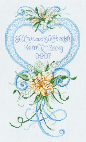 Janlynn Cross Stitch Kit, 15-Inch by 9-Inch , Cherished Wedd
