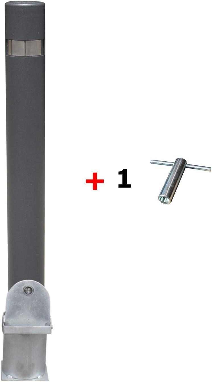 Pilona fija reforzada extraíble. Bolardo de hierro con parte superior en acero inoxidable amovible de 95x1000 mm. (1 Pilona + 1 Llave)