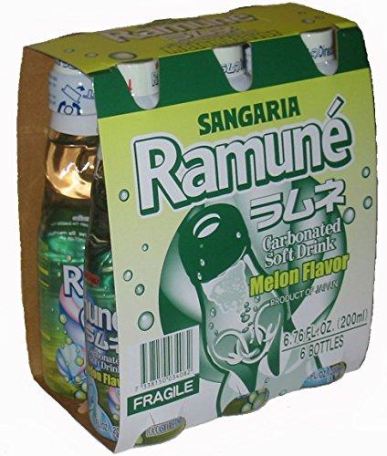 Sangaria Ramune Melon 200 ml Drink - 6 Pack (Japanese Soda Melon)