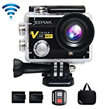 JEEMAK 4K Action Camera 16MP WiFi Waterproof Sports Camera 170° Ultra Wide Angle Len with SONY Sensor,Remote Control 2 Pcs Rechargeable Batteries and Portable Package Black