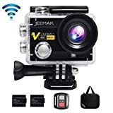 JEEMAK 4K Action Camera 16MP WiFi Waterproof Sports Camera 170° Ultra Wide Angle Len with SONY Sensor,Remote Control 2 Pcs Rechargeable Batteries and Portable Package
