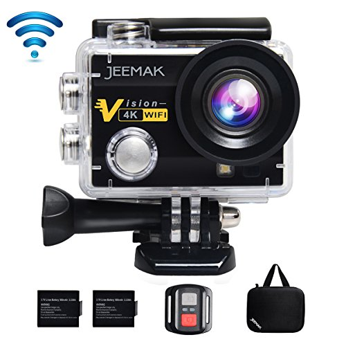 JEEMAK 4K Action Camera 16MP WiFi Waterproof Sports Camera 170° Ultra Wide Angle Len with SONY Sensor,Remote Control 2 Pcs Rechargeable Batteries and Portable Package (Dvr Card Bundle)