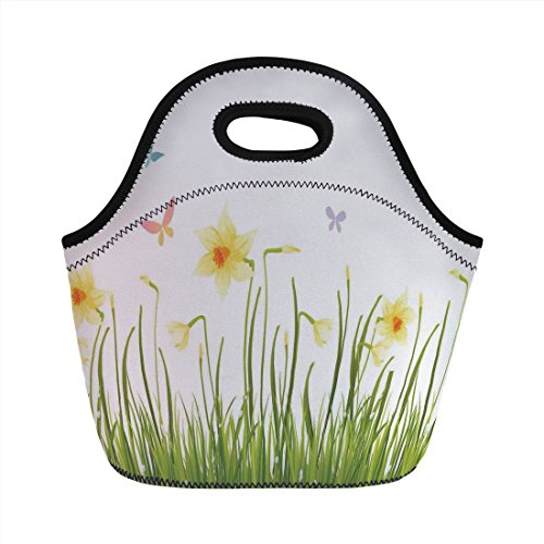 - Neoprene Lunch Bag,Daffodil Decor,Daffodil Field with Butterflies in Meadow Grass Springtime Park Easter Illustration,Yellow Green,for Kids Adult Thermal Insulated Tote Bags