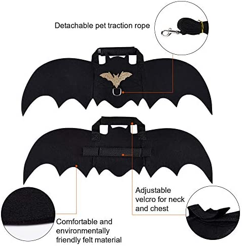 Cat Bat Costume,Halloween Cat Bat Wings for Pets,Cat Halloween Collar Pet Apparel for Small Dogs and Cats,Comfort Material Pet Costume for Halloween (Cat Bat Costume) 19