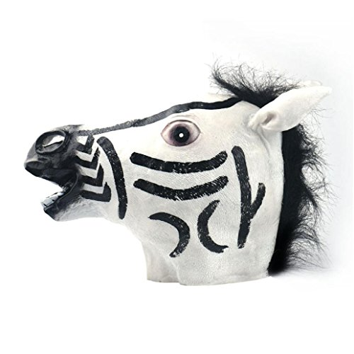 Zebra Latex Mask (NXDA Animal Full Head Latex Mask Horror Novelty for Halloween Costume Party Decorations(Zebra) (Zebra))