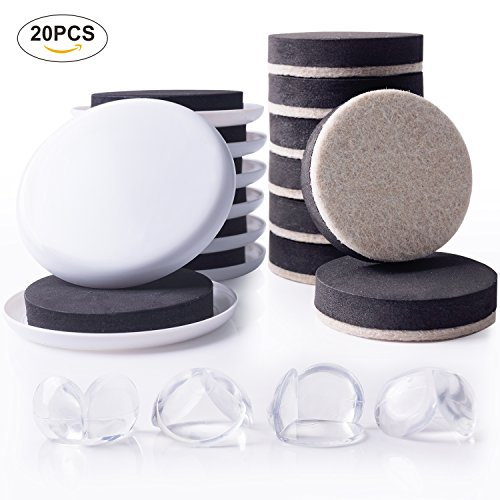 Furniture Sliders Moving Kit & Corner Guards for Carpeted and Hard Floor Surfaces Felt Pads Suitable For All The Furniture Sliders (20 Piece) by FittiDoll (Image #7)
