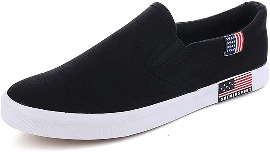 Womens Fashion Casual Sneakers Comfortable Flat Canvas Shoes Slip-On Loafers