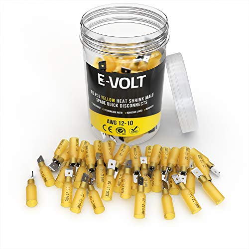 E-VOLT 80 PC Yellow Heat Shrink Male Spade Crimp Connectors: 12 10 Gauge Bulk Waterproof Electrical Terminals - Insulated AWG Automotive, Marine, Audio, and Industrial Grade. Hot Melt Adhesive