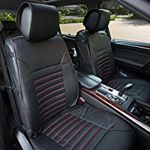 FH Group PU206BLACK102 Black Multifunctional Quilted Leather Front Seat Cushion, Set of 2 (W Seatback Organizer Storage - Airbag Safe)