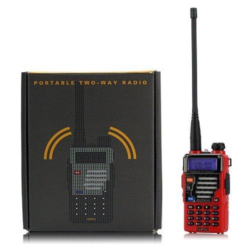BaoFeng UV-5R Plus Qualette - Walkie-talkie de 2 ví as (VHF / UHF, 136 - 174 / 400 - 520 MHz, 2 m / 70 cm, modelo de 2013), color rojo