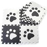 10pcs Black White Paw Style Soft Puzzle Mats Rugs Flooring Mats for Kids Soft Foam Play Mat Jigsaw Pop-Out Mats