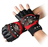 Steampunk Gothic Gloves Mens Vintage Geuuine Leather Captain Fingerless Mittens (A Red)