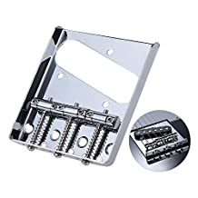 Andoer 3 Saddle Ashtray Bridge Tailpiece Chrome Plated for Telecaster Tele Electric Guitar Replacement Part with Screws Wrench