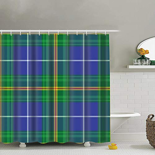 (best bags Nova Scotia Tartan Element Construction Vintage Uphome Fabric Shower Curtain,Bathroom Cloth Shower Curtain Set with Hooks, Heavy Duty Waterproof, 66X72 Inch )
