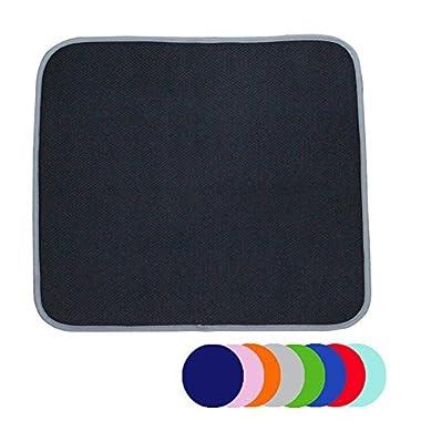Jovilife Dish Drying Mat Kitchen Mat(set of 2) Microfiber Absorbent Washable, 16*18 Inch, Black