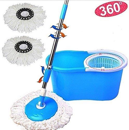 360° Easy Clean Floor Mop Bucket 2 Heads Microfiber Spin Rotating Head Blue