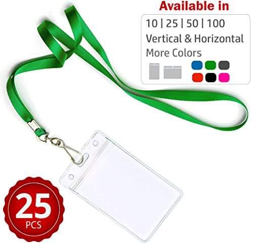 Durably Woven Lanyards & Vertical ID Badge Holders ~Premium Quality, Waterproof & Dustproof ~ For Moms, Teachers, Tours, Events, Businesses, Cruises & More (25 Pack, Green) by Stationery King