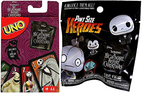 Creepy Halloweentown Fun Fright Go! Uno Card Game Nightmare Before Christmas Classic Matching + Bundled with Character Mini Figure Blind Bag Pint Sized Heroes Collectible Pack -