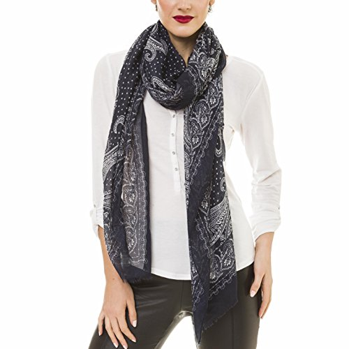 Scarf for Women Lightweight Navy Blue Paisley Fashion Fall Winter Scarves Shawl Wraps (NF46-2) ()