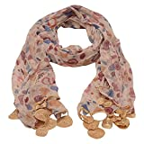 Girls Gold Blue Dotted Round Crochet Leafy Accents Scarf